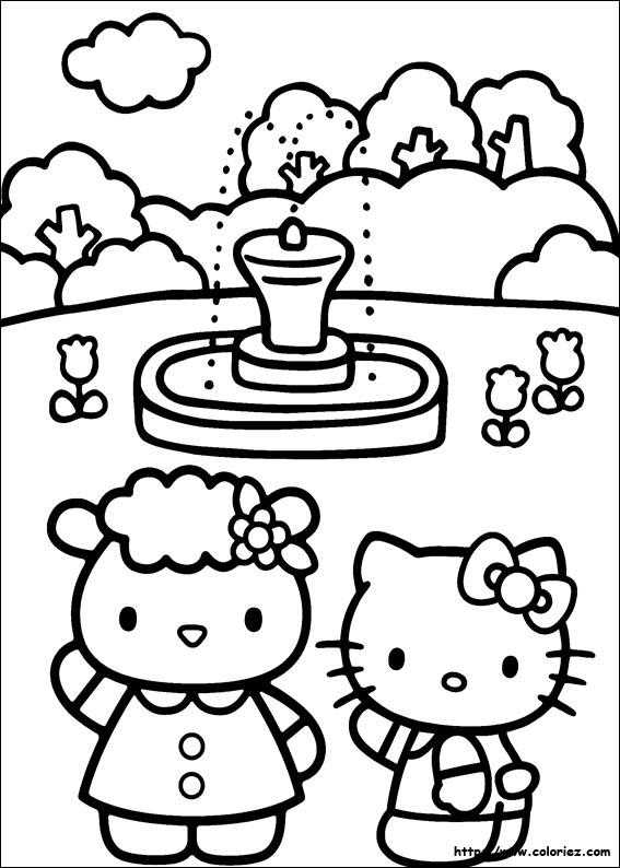 Coloriage a la fontaine - Coloriage hello kitty printemps ...