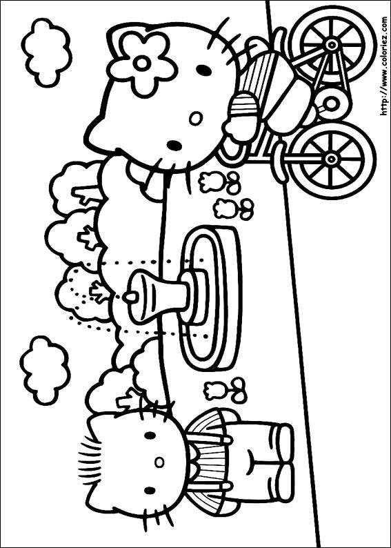 Coloriage daniel et kitty au jardin - Coloriage hello kitty et mimi ...