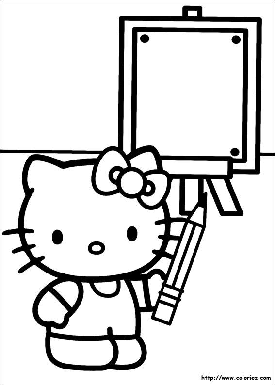 Coloriage kitty au tableau - Coloriage hello kitty tete ...