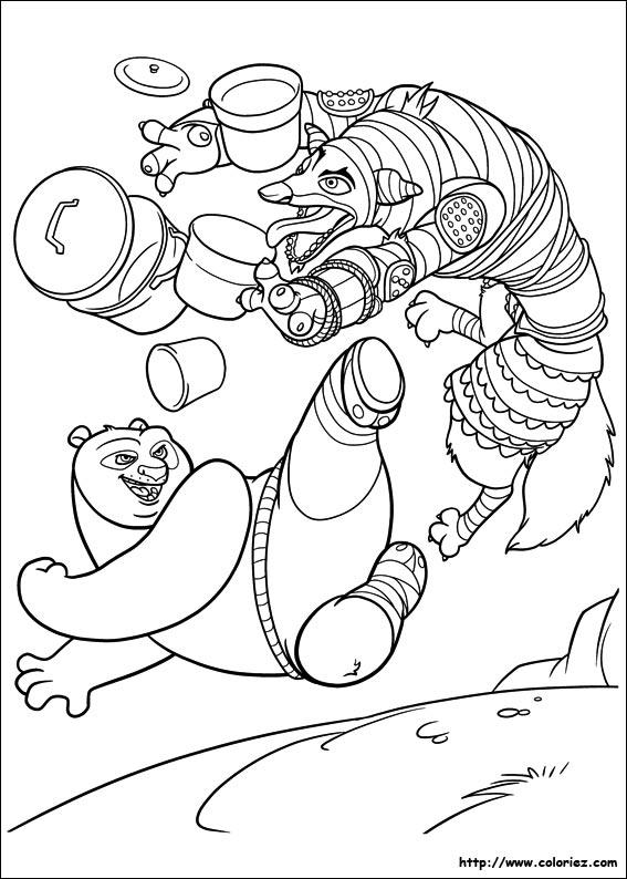 Coloriage coloriage de po contre le loup - Coloriage panda ...