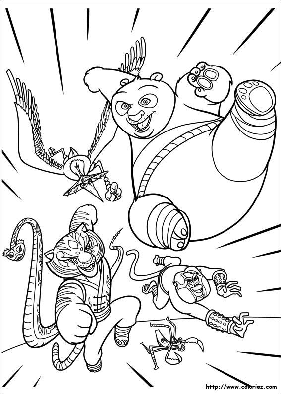 Coloriage l 39 quipe kung fu en action - Coloriage kung fu panda ...