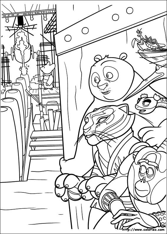 Coloriage kung fu en embuscade - Dessin kung fu panda ...