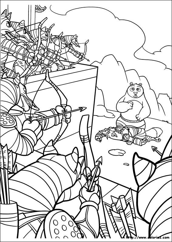 Coloriage sous la menace des archets - Coloriage a imprimer kung fu panda ...