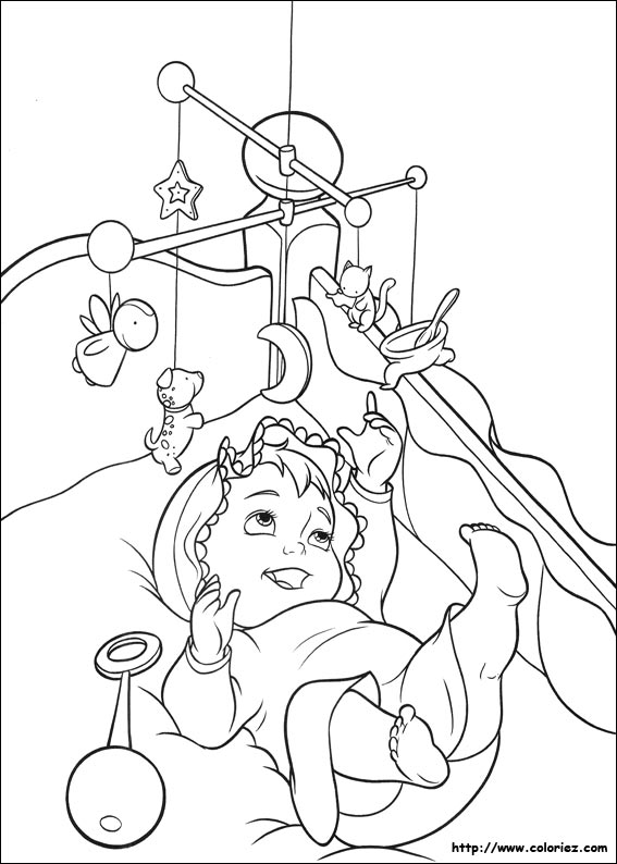 Coloriage b b rit for Dessin chambre bebe fille