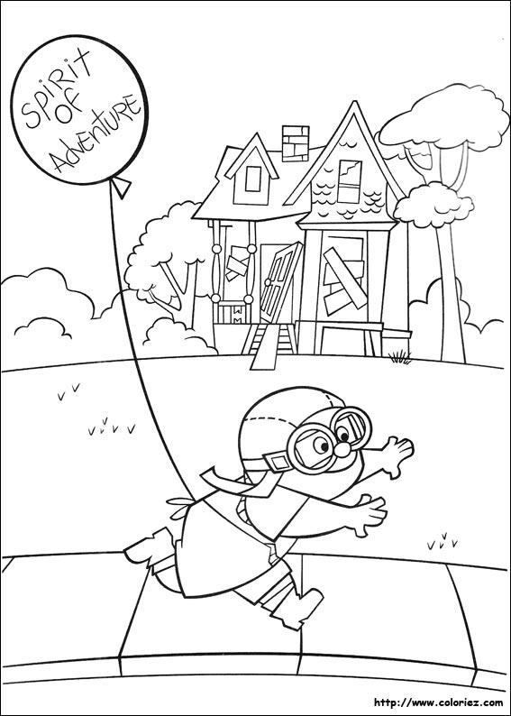 Coloriage carl et son ballon - Coloriage la haut ...