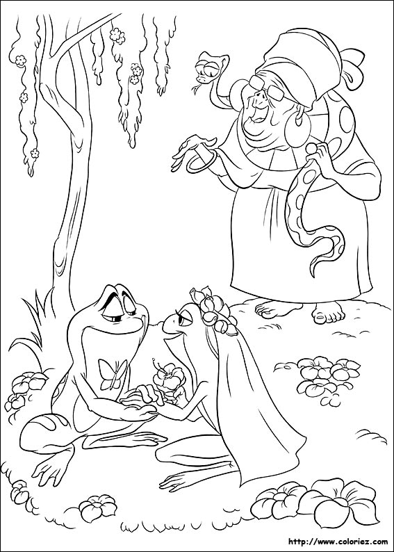 Coloriage coloriage du mariage de tiana et naveen - Coloriage la princesse et la grenouille ...