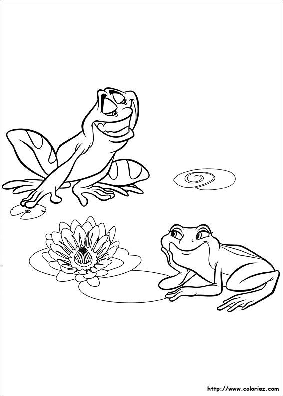 Coloriage de princesse de disney - Coloriage la princesse et la grenouille ...