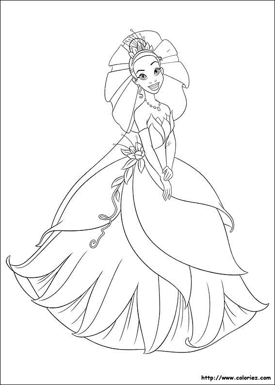 coloriage princesse tiana