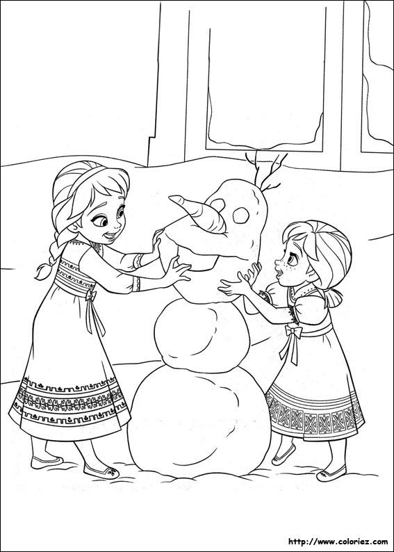 Coloriage les bonhommes de neige - Dessin de reine des neiges ...