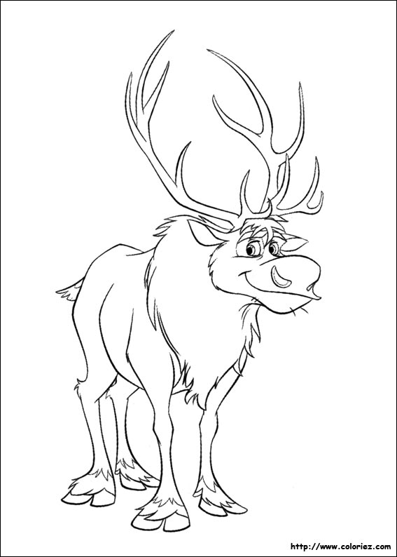 Frozen Reindeer Coloring Pages : Coloriage sven le renne
