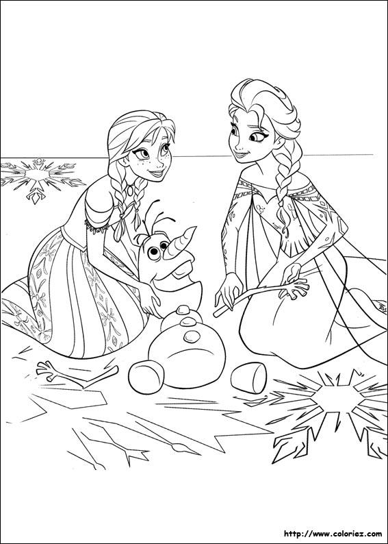 Coloriage les deux soeurs et olaf - Dessin de reine des neiges ...
