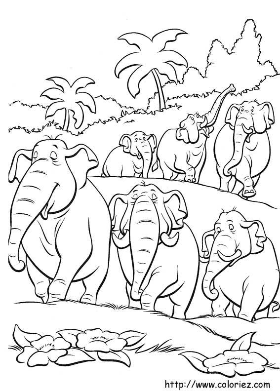 Coloriage hathi et les l phants - Jeux des as de la jungle ...