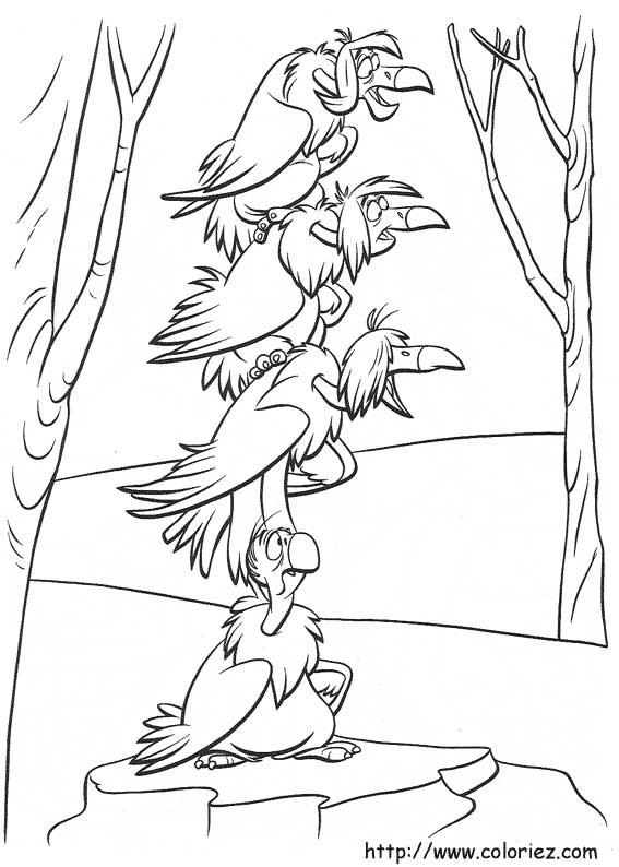 Coloriage les vautours - Jeux des as de la jungle ...