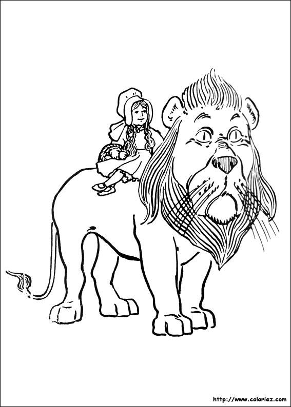 coloriage du lion qui veut du courage