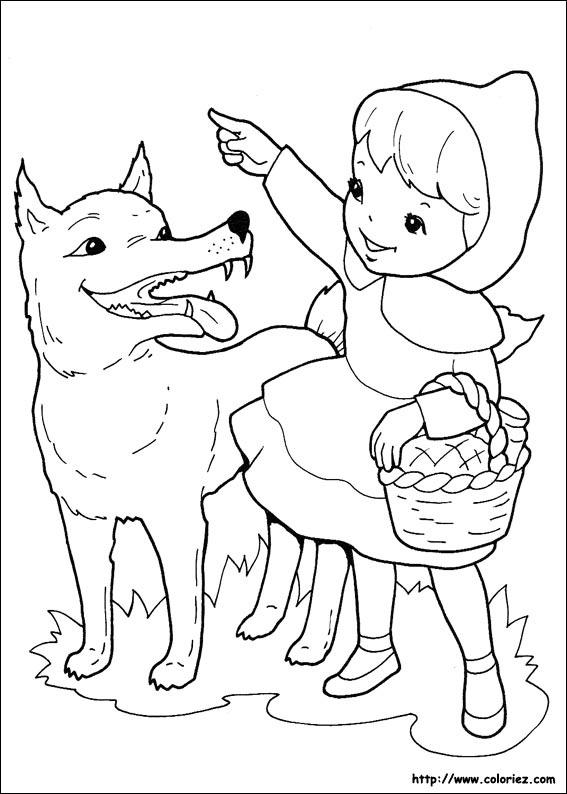 Coloriage le petit chaperon rouge et le loup - Dessin petit chaperon rouge ...