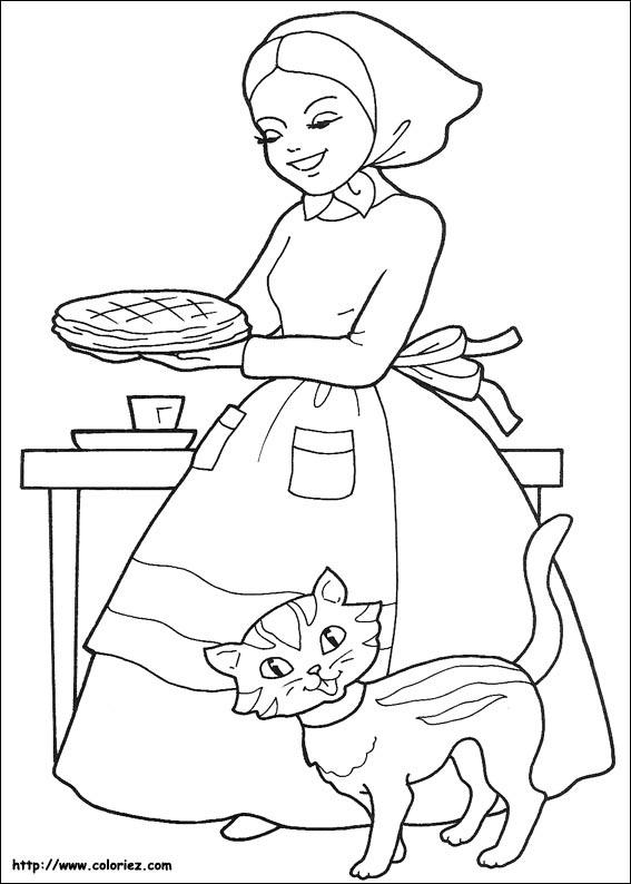 maman fait une belle galette - Coloriage Maman