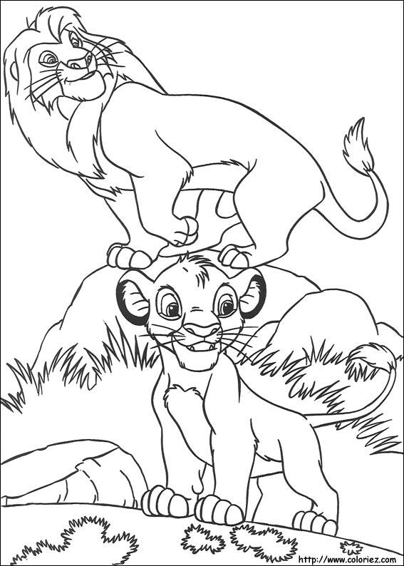 Coloriage mufasa et son fils - Dessin simba roi lion ...