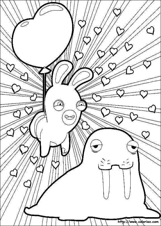 Coloriage lapin amoureux d 39 un morse - Lapin cretin coloriage ...