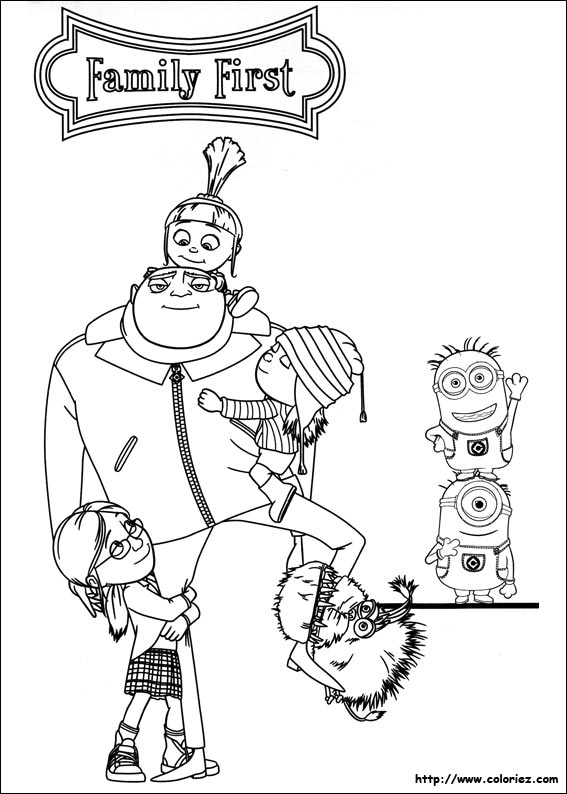 Coloriage famille minion - Coloriage de la famille ...