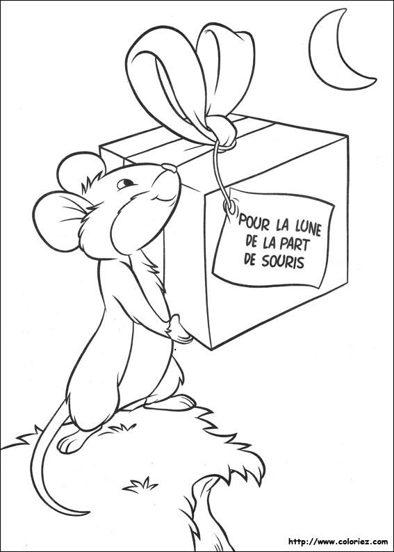 Coloriage souris offre un cadeau la lune - Coloriage petite souris ...