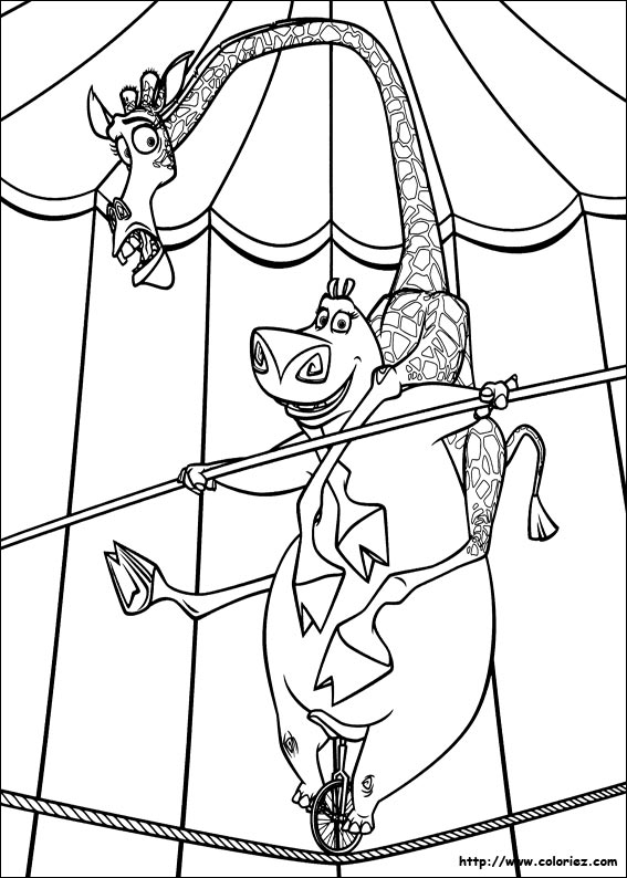 madagascar 3 circus coloring pages - photo#6
