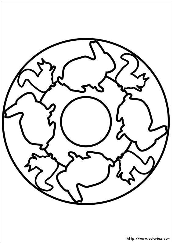 Coloriage coloriage mandala animaux - Coloriage petit mandala ...