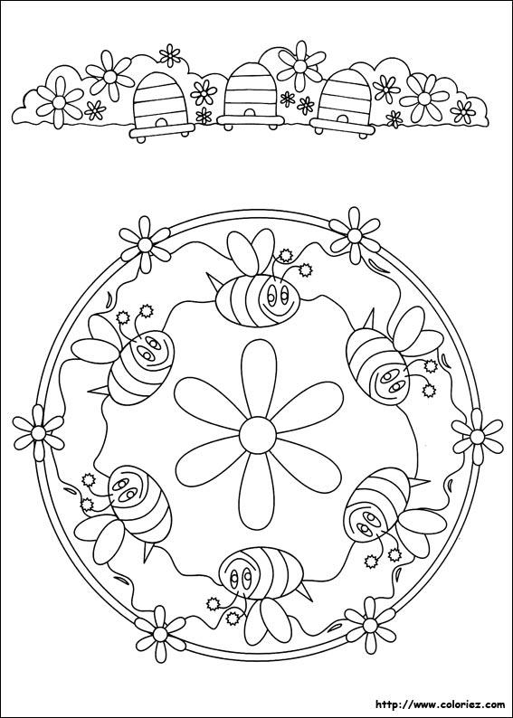 COLORIAGE - Mandala d\'abeilles