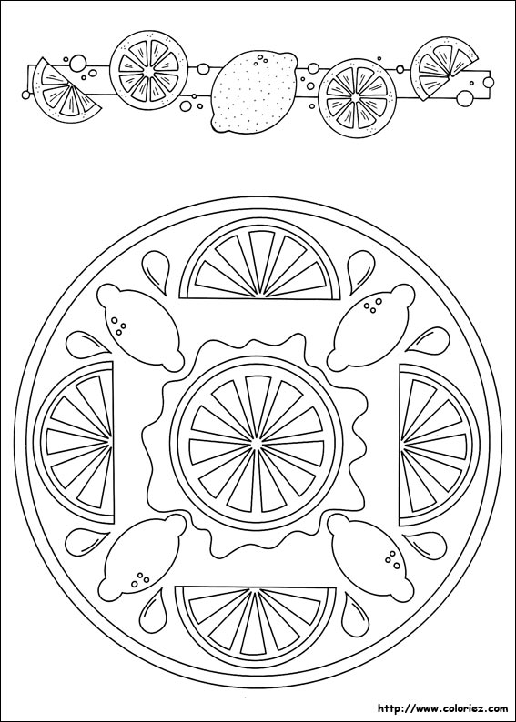 Coloriage mandala citron - Coloriage citron ...