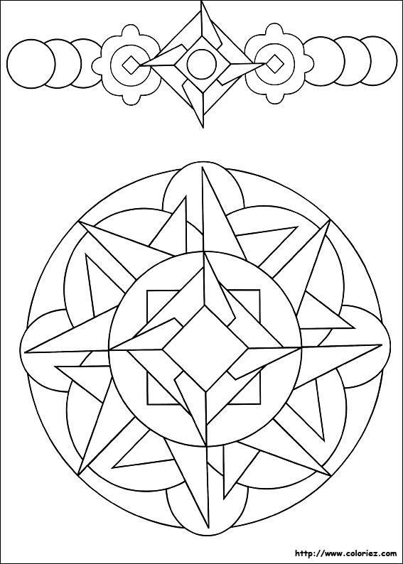 Coloriage mandala et frise de formes g om triques - Coloriage geometrique ...