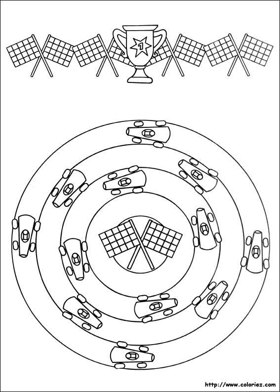 COLORIAGE - Mandala et frise de la course automobile