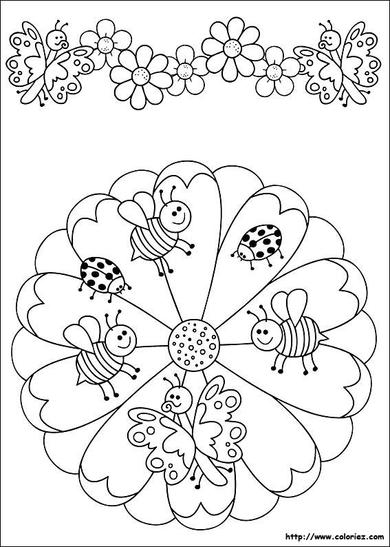 Coloriage mandala et frise des petites abeilles - Coloriage mandala enfants ...