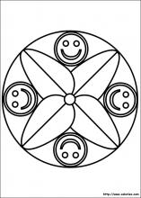 Coloriage mandala smiley