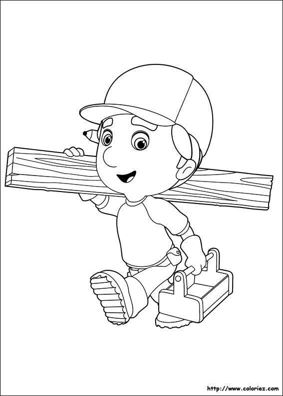 Coloriage manny part travailler - Liste outils bricolage ...