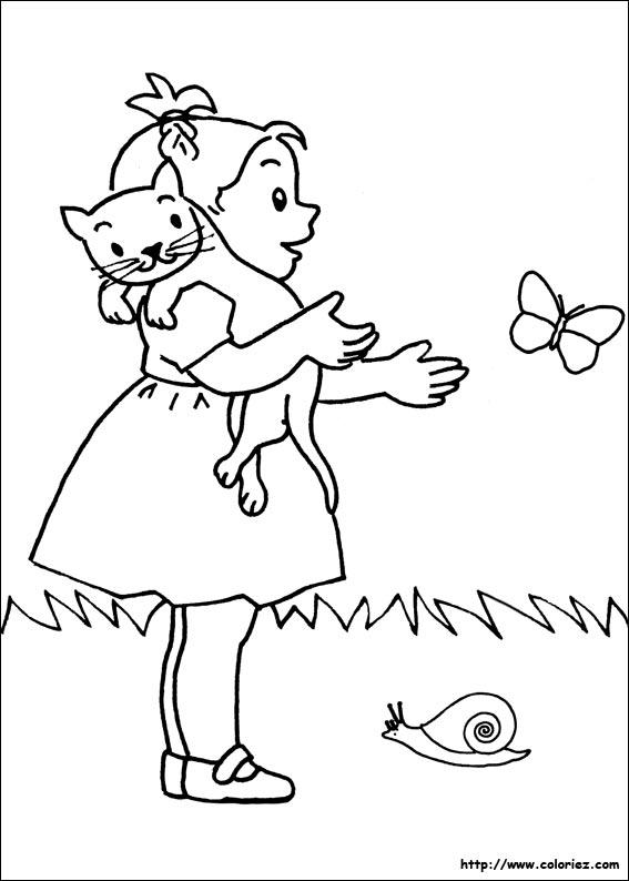Coloriage mimi et les animaux - Dessin petit papillon ...