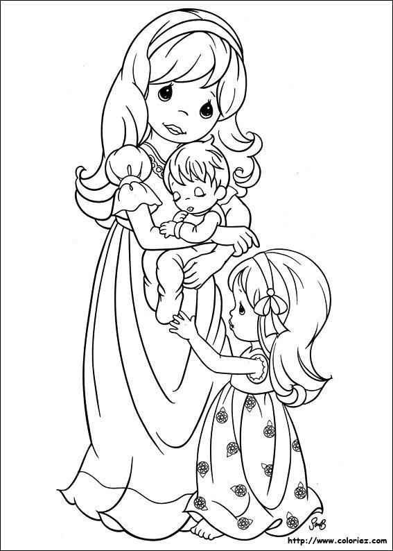 moments prcieux avec maman - Coloriage Maman