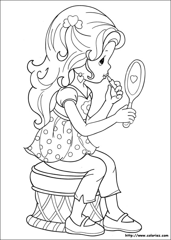 Coloriage moments pr cieux devant le miroir for Miroir coloriage