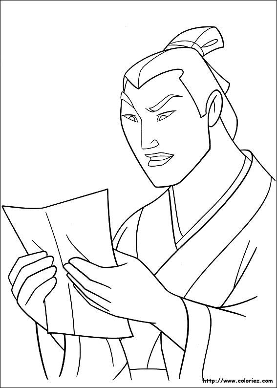 Coloriage coloriage de shang trouvant la lettre - Mulan coloriage ...