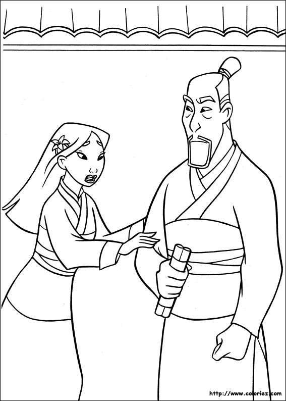 coloriage de Mulan suppliant son père