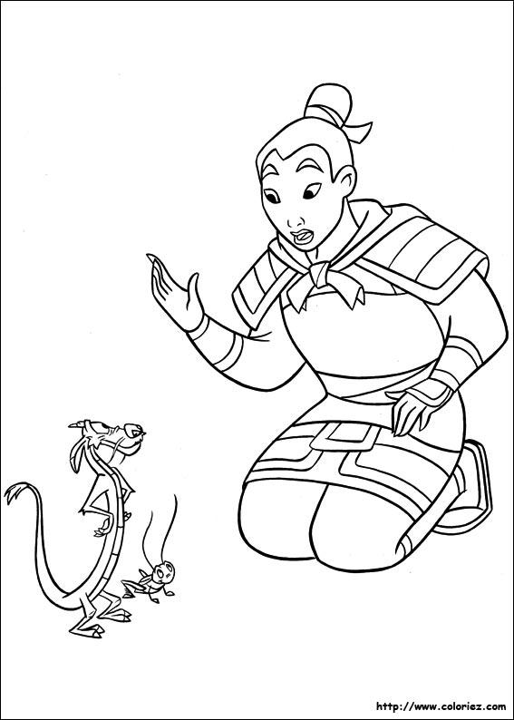 Coloriage coloriage de mulan mushu et cri kee - Mulan coloriage ...