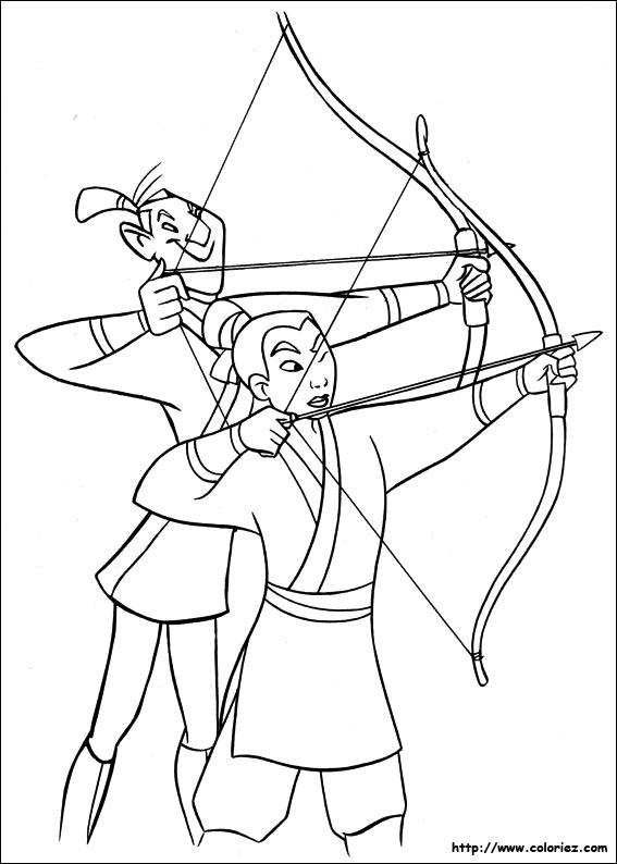 Coloriage coloriage de l 39 entrainement de mulan - Mulan coloriage ...
