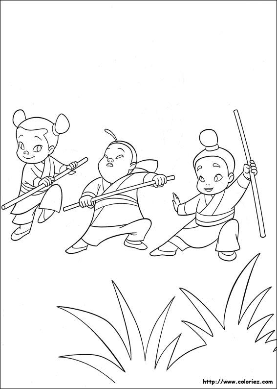Coloriage coloriage des 3 petites filles - Mulan coloriage ...