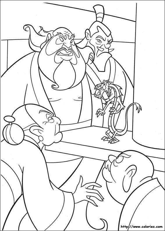 Coloriage coloriage de la mauvaise nouvelle - Mulan coloriage ...
