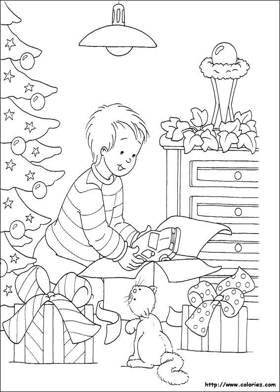 Coloriage coloriage du d ballage des cadeaux - Coloriage guirlande noel ...