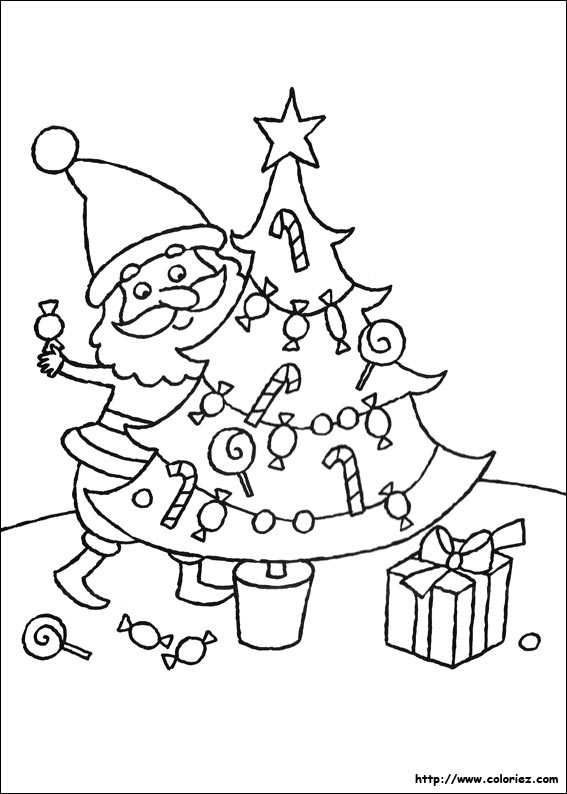 Coloriage bonbons d coration for Decoration de noel dessin