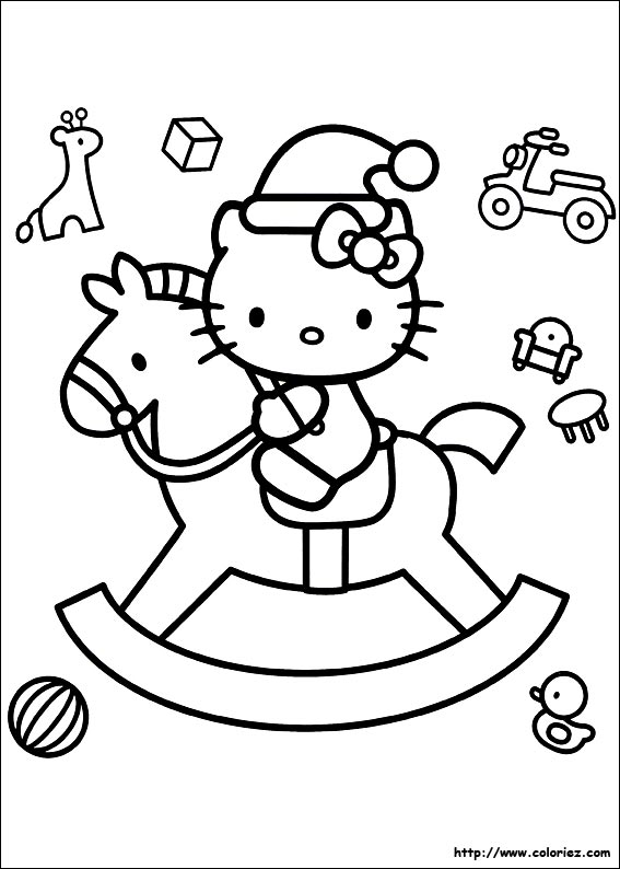 Beautiful Coloriage Hello Kitty Noel #9: Coloriage-noel-des-h.