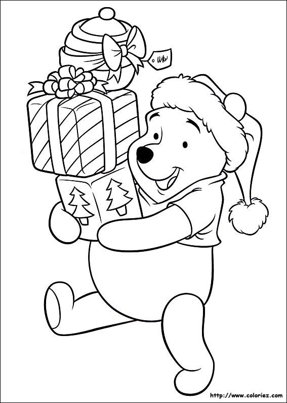 Coloriage les cadeaux de no l de winnie l 39 ourson - Winnie l ourson noel ...