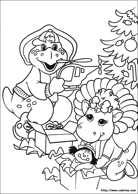 christmas barney coloring pages - photo#2