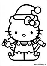 Coloriage d'Hello Kitty le lutin de Noël