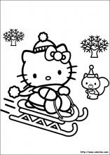 Coloriage du traineau de Noël d'Hello Kitty