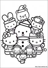 coloriage de la fête de Noël d'Hello Kitty